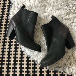 Lucky brand black leather heeled boots